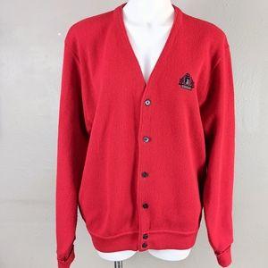 VTG Izod Knit Varsity Style V Neck Cardigan Button